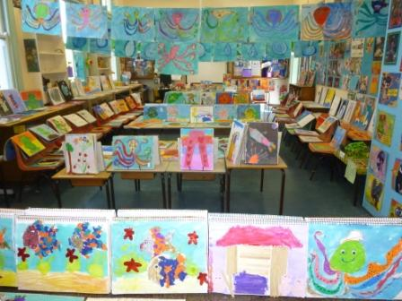 Student artworks in display in the Art Room