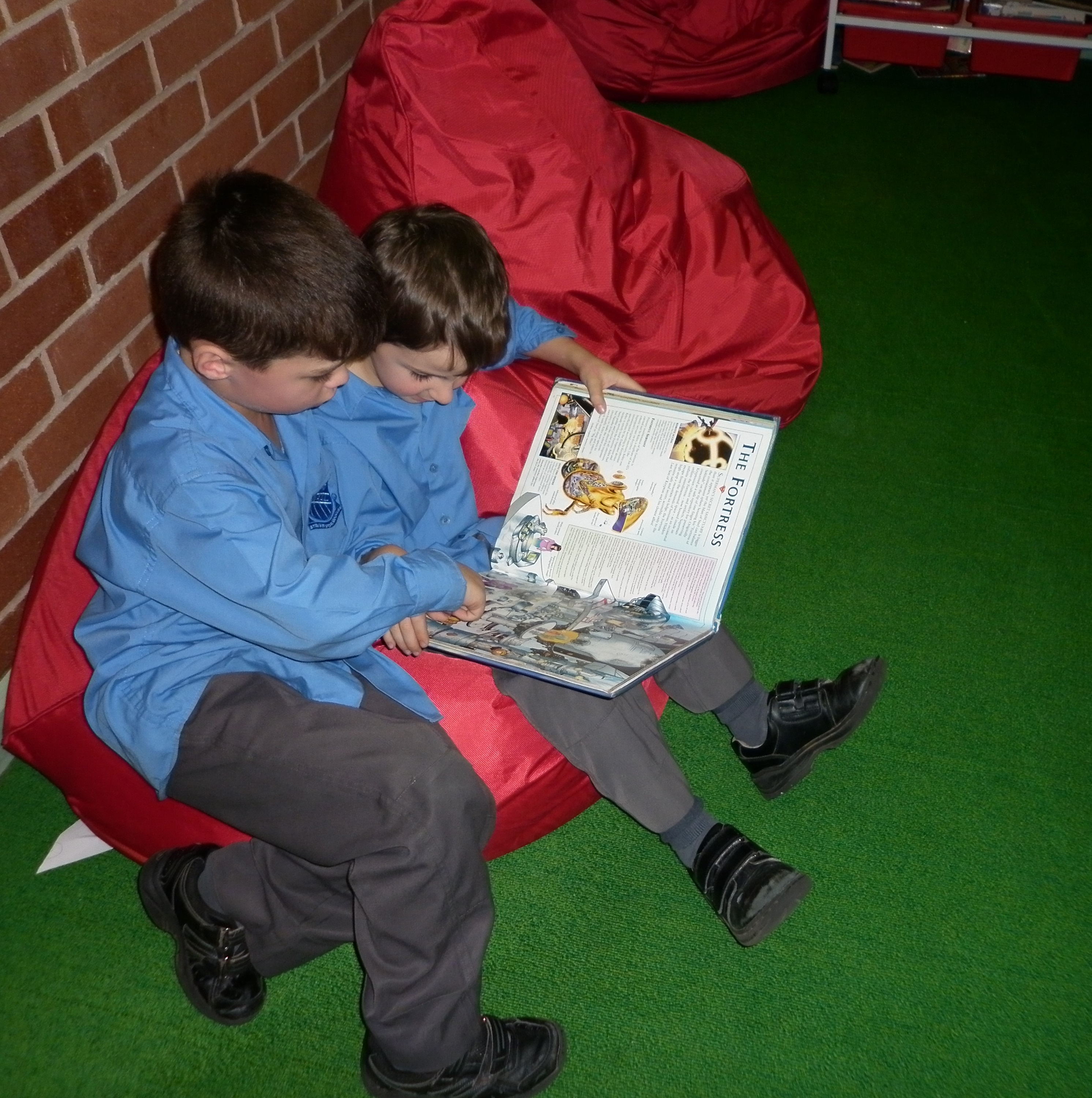reading on the bean bags